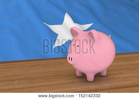 Somalia Finance Concept - Piggybank In Front Of Somalian Flag 3D Illustration