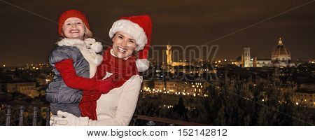 Mother And Daughter In Christmas Hats At Piazzale Michelangelo