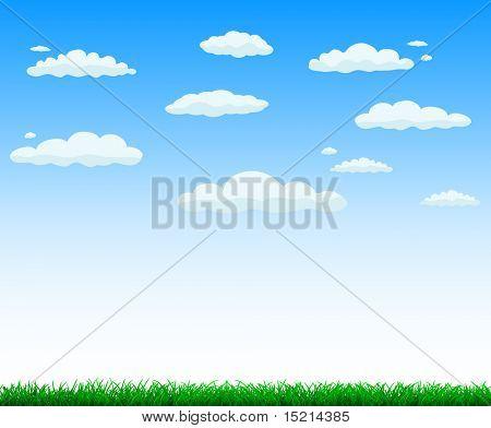 Vektor Hintergrund - grünem Gras und Himmel mit Wolken