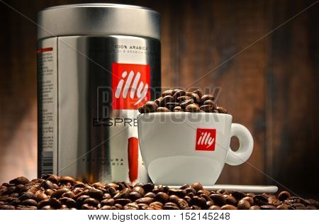 POZNAN POLAND - OCT 12 2016: Illy is an Italian coffee roasting company that specializes in the production of espresso. Founded by Francesco Illy in 1933.
