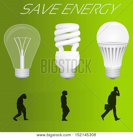 Save energy concept. Evolution from incandescent lamp to led lamp similar to human evolution. Vector illustration