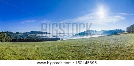 Foggy Rural Landscape In Morning In The Eifel