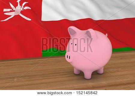 Oman Finance Concept - Piggybank In Front Of Omani Flag 3D Illustration