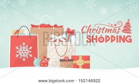 Colorful christmas gifts shopping bags and decorations on the snow xmas shopping concept banner