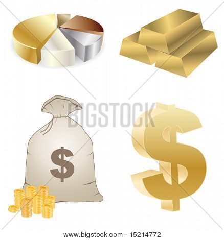 vector gold and money - set