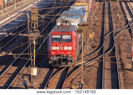 HANNOVER / GERMANY - OCTOBER 16 2016: freight train from german rail deutsche bahn drives through the freight yard hannover / germany at october 16 2016