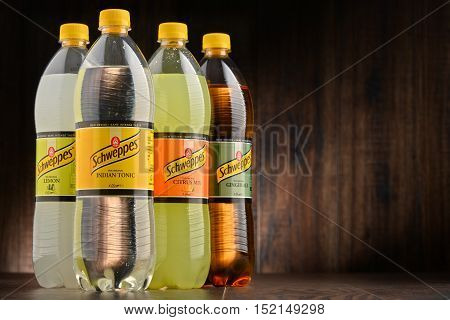 POZNAN POLAND - OCT 13 2016: Schweppes Comp. is a beverage manufacturer founded in Geneva and developed in London famed for carbonated soft drinks including ginger ale bitter lemon and tonic water