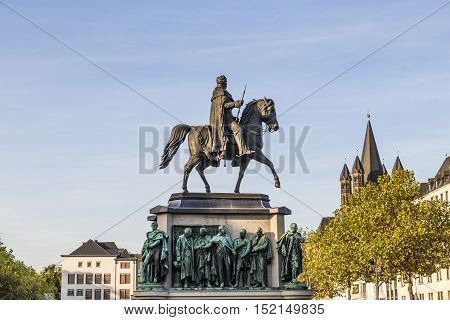 COLOGNE GERMANY - SEP 21 2016: Monument in center of Cologne of Kaiser Friedrich Wilhelm at Heumarkt near to river Rhine