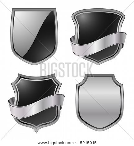 metallic shields - vector set