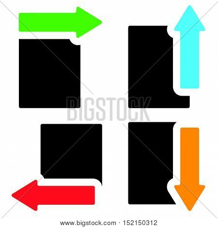 Banners W Arrows In Four Direction - Arrows Cut In Rectangle Shapes