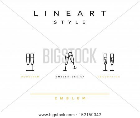 Wine glass icon style line art. Vintage glass icon. Monogram emblem for restaurant design style lineart champagne