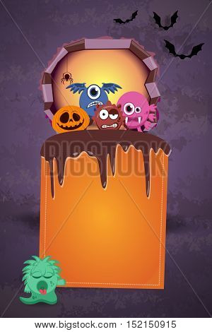 Halloween Background With Monsters