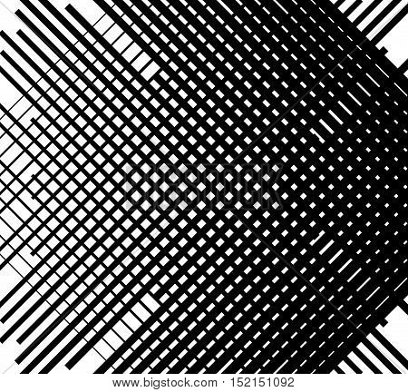 Asymmetric Grid Mesh Pattern. Irregular Monochrome Abstract Texture