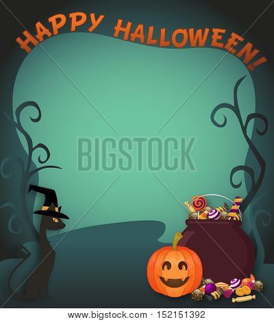 Halloween Background Trick Or Treat. Magic Cauldron And Sweets