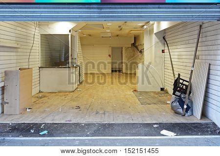 Vacant Empty Abandon Shop Interior in London