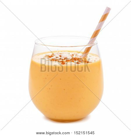 Pumpkin Smoothie With Coconut In Tumbler Glass With Straw Isolated On White