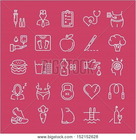 Set vector line icons in flat design diabet and diabetes mellitus with elements for mobile concepts and web apps. Collection modern infographic logo and pictogram.
