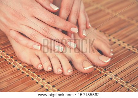 Care for beautiful woman legs and hands.