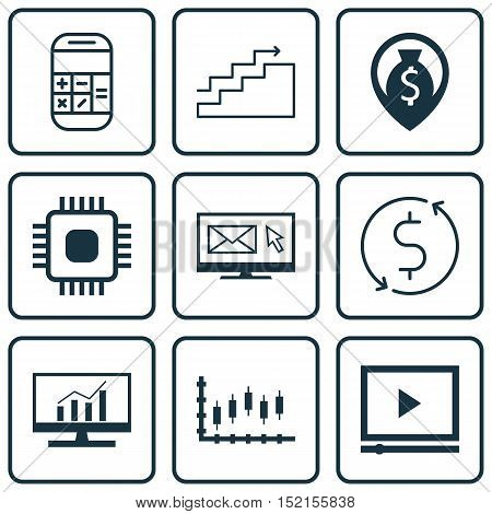 Set Of 9 Universal Editable Icons For Computer Hardware, Statistics And Airport Topics. Includes Ico