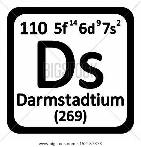 Periodic table element darmstadtium icon on white background. Vector illustration.