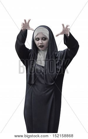 Asian Woman With Evil Nun Costume