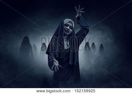Young Evil Asian Woman Nun