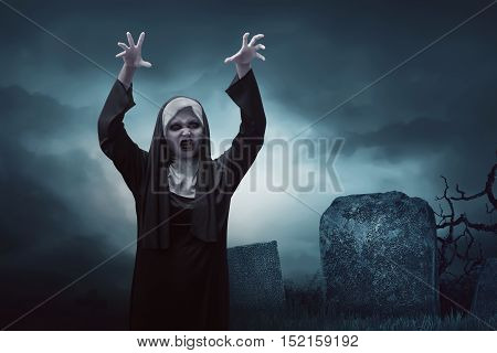 Scary Young Asian Nun Woman In Graveyard