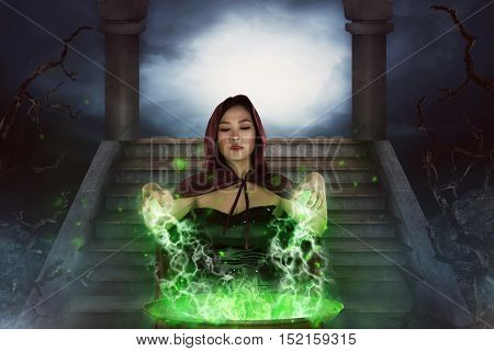 The Asian Witch With Cauldron Practice Witchcraft