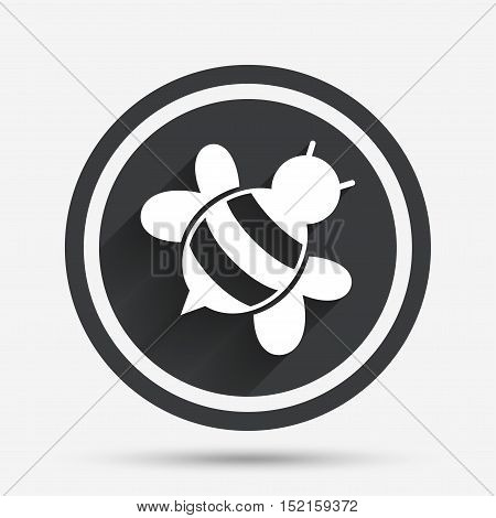 Bee sign icon. Honeybee or apis with wings symbol. Flying insect diagonal. Circle flat button with shadow and border. Vector