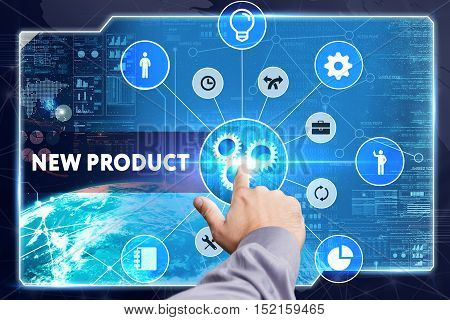Business, Technology, Internet And Network Concept. Young Businessman Working On A Virtual Screen: N