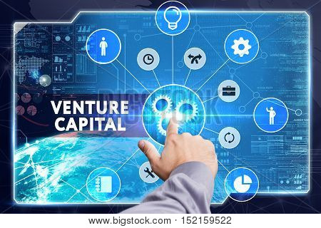 Business, Technology, Internet And Network Concept. Young Businessman Working On A Virtual Screen: V