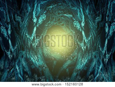 Haunted Forest background as creepy woods with evil trees and spiders with glowing copy space as a spooky landscape with 3D illustration elements.