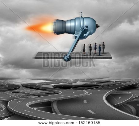 Fast track and direct route concept or business travel symbol as piece of road being thrusted by a rocket engine transporting businesspeople as a corporate achievement symbol with 3D illustration elements.