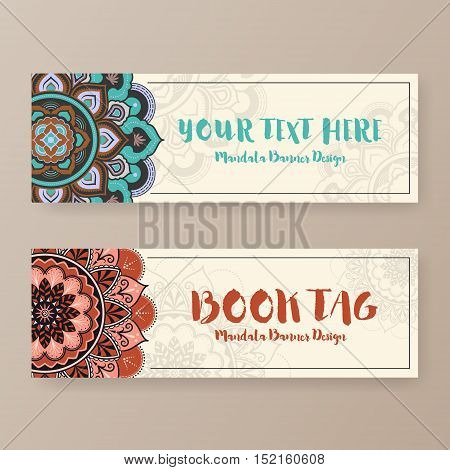 Assortment of banner with ethnic abstract drawings. Book tag design with Mandala floral decorative.