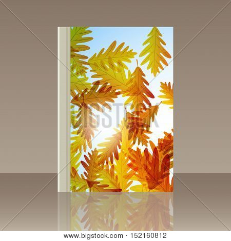 Book autumn still life. Oak leaves. Vector background