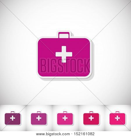Medical suitcase. Flat sticker with shadow on white background. Vector illustration