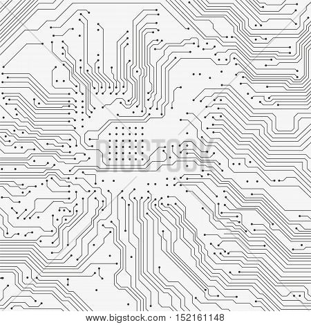 Circuit board background. Vector electronic gray background.