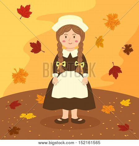 Thanksgiving greeting card with a girl on autumn background vector illustration