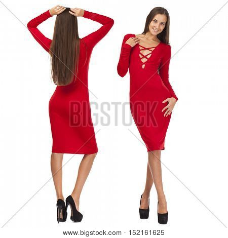 Front and rear, Portrait in full growth of a beautiful young models in red dress, isolated on white background