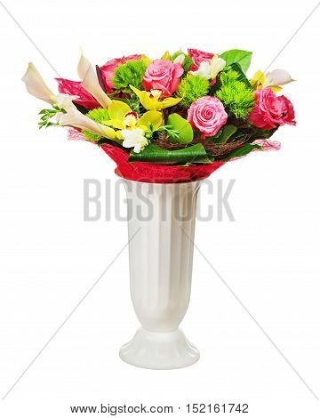 Colorful flower bouquet arrangement centerpiece in vase isolated on white background.Closeup.