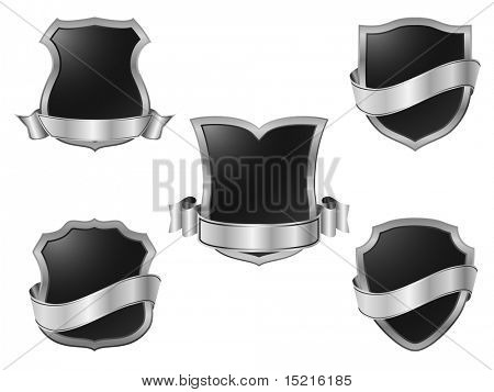 silver metal shields with banners