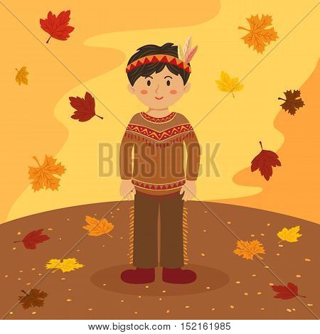 Illustration of thanksgiving greeting card with a native american Indian boy on autumn background.