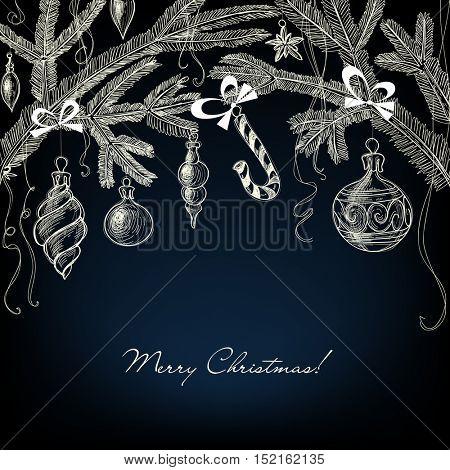Christmas ornaments white over dark background
