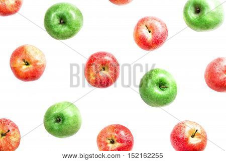 Flat composition of red and green apples isolated on white background.