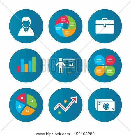 Business pie chart. Growth curve. Presentation buttons. Businessman icons. Human silhouette and cash money signs. Case and presentation with chart symbols. Data analysis. Vector