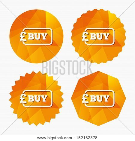 Buy sign icon. Online buying Pound gbp button. Triangular low poly buttons with flat icon. Vector