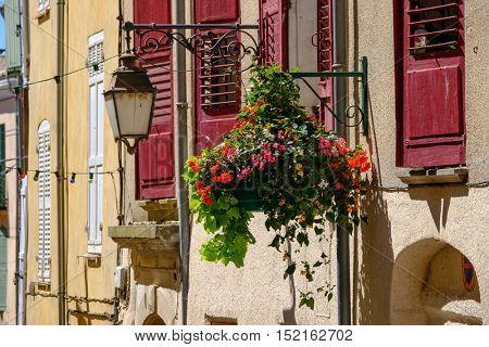 Facade in old city at France