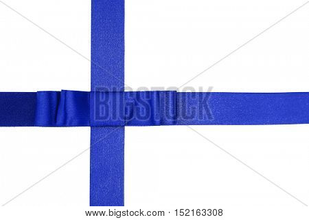 Blue ribbon with bow on white background