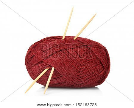 Ball of knitting yarn and needles isolated on white