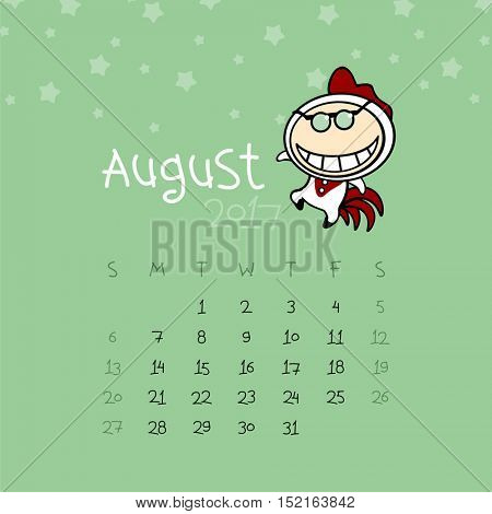 Calendar for the year 2017 - August
